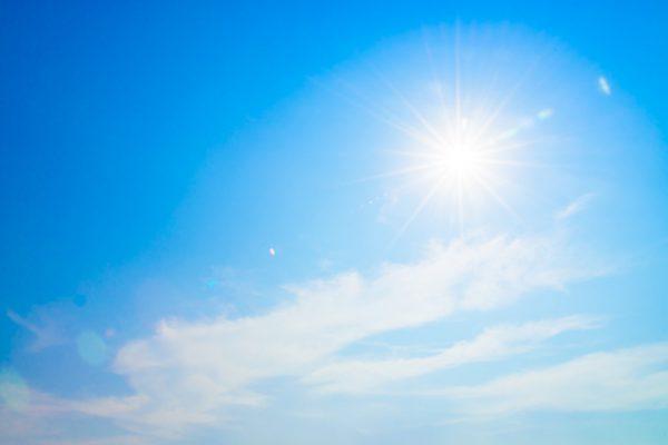Sun flare on blue sky